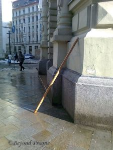 A leaning stick: The only warning the Czechs may give you against falling objects