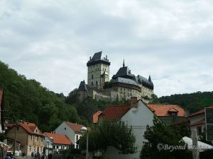 Karlštejn castle, standing imposingly above the village that shares its name