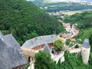 The view to Karlštejn village from the castle's Great tower.