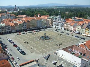 Main square with fountain and city hall