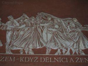 Mural of celebrating peasants in the Olomouc train station