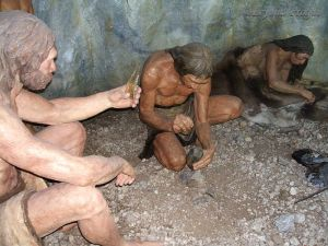 Diorama showing a likely depiction of life in the Brno area 40-50 thousand years ago.
