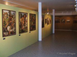 Part of long term Zdeněk Burian painting display.