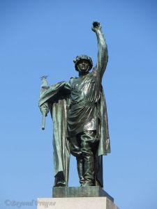 Soviet soldier statue above Brno's Moravian Square.