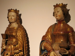 Wood sculptures of Saint Barbara and Saint Dorothy on display at the Governor's Palace location.