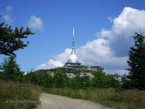 The city's signature lookout tower which stands atop Ještěd peak and overlooks the city and surrounding mountains.