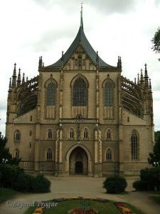 The UNESCO protected St. Barbara's cathedral is the town's primary landmark