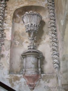 A bone chalice in the entryway to the ossuary