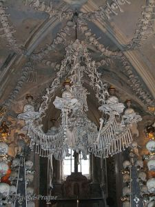 The centerpiece chandelier at the bone chapel