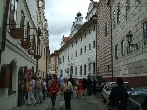 Down at street level, walking around the town with other tourists.