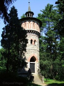 Water tower in chateau gardens