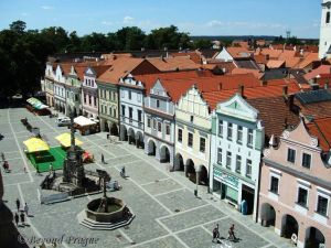 Třeboň town square and it's preserved buildings