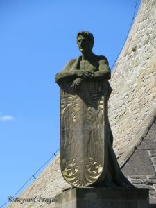 The Moravian Shield bearer, one of four such figures on the cairn.