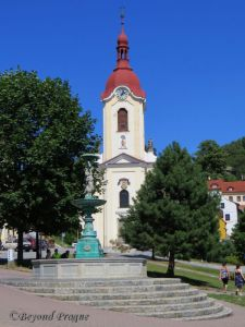 The fountain and church on the town square.
