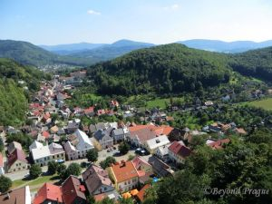 A view over the town and to the Beskydy foothills from the castle tower