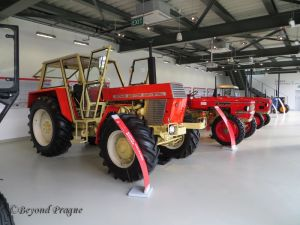 A line of historic Zetor tractors.