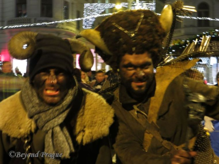 A devilish pair seen at the Brno Christmas market.