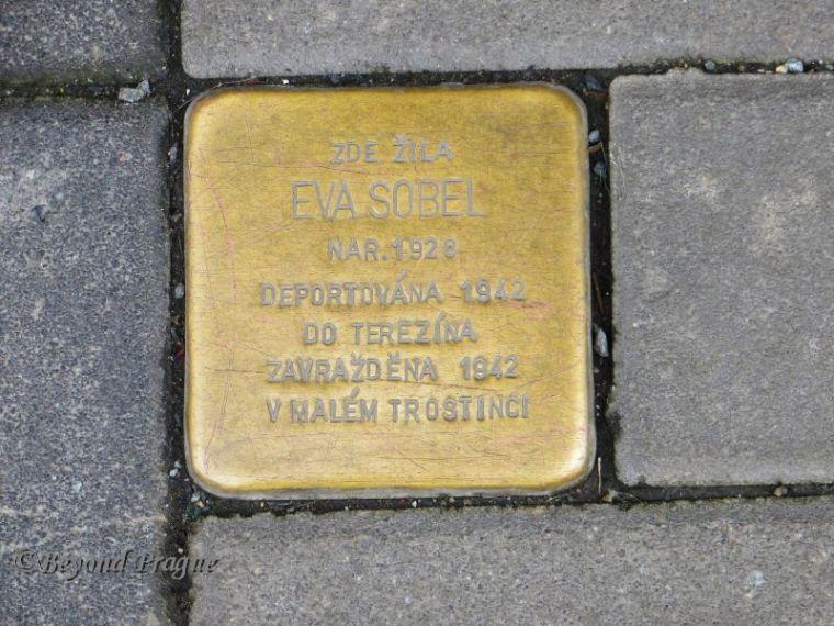 Here Lived Eva Sobel Born: 1928 Deported to Terezín in 1942  Murdered in Malý Trostinec in 1942