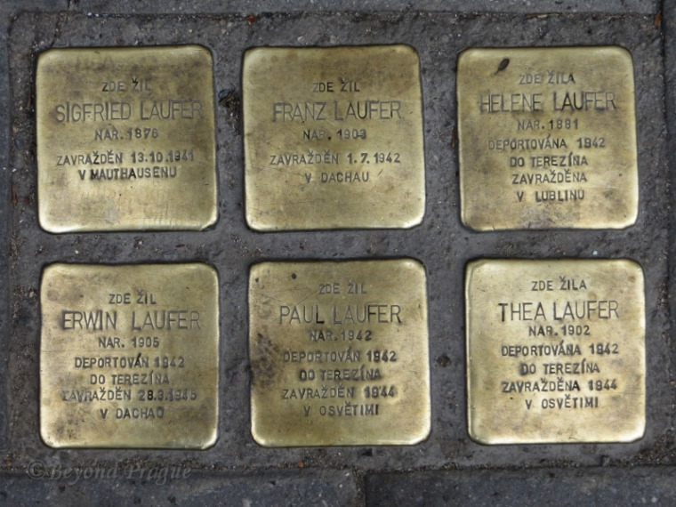 Six stones covering three generations of a Brno family outside their former residence.