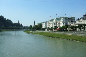 A view along the banks of the Salzach River.