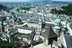 The view of the town centre and river from the fortress which overlooks Salzburg.