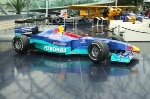 A Formula 1 car on display at Hangar 7.