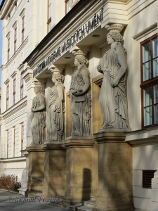 The distinctive statues which mark the entry to the Janáček Academy of Performing and Musical Arts in the centre of Brno.