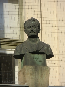 A bust of Janáček displayed at  the former organ school in Brno