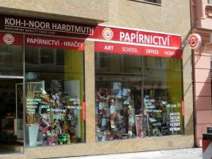 A wealth of art supplies in the window of a Koh-I-Noor shop in Brno's centre.