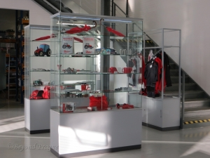 Display cases showing a selection of Zetor related souvenirs available in the gift shop.