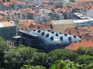 The distinctive Kunsthaus modern art gallery seen from Schlossberg.