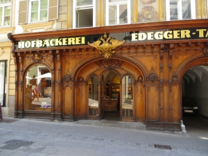 A Bakery in the centre with a stunning woodwork facade.