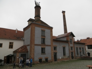 The twin chimneys of the brewery, landmarks of the Dalešice town site.