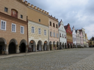 Another view of the facades and arcades along the square.