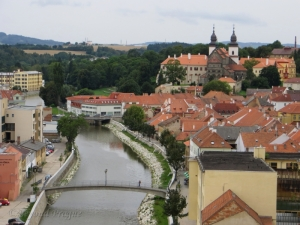 A look over the Jihlava river from a viewing point above the city.