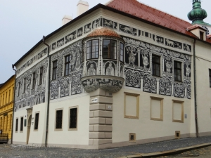 The sgraffito facade of the Renaissance era Painted House on the city's main square.