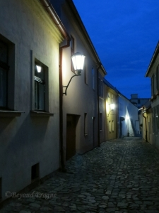 An evening view of one of the many small streets in the Jewish Quarter.