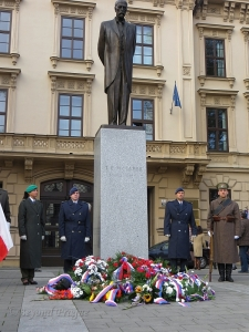 Wreaths laid at the statue of Tomáš G. Masaryk near the centre of Brno.