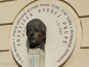 A commemorative wall plaque to Poupě in Brno.