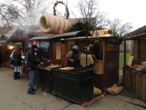 A trdelník stand at the Brno Christmas Market.