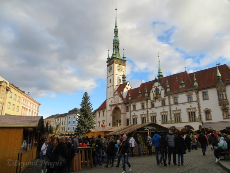 Arriving at the upper square to the sight of Olomouc town hall and the Christmas market.