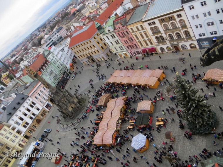 Holly Trinity Column, market stalls and Christmas tree as seen from the town hall tower.