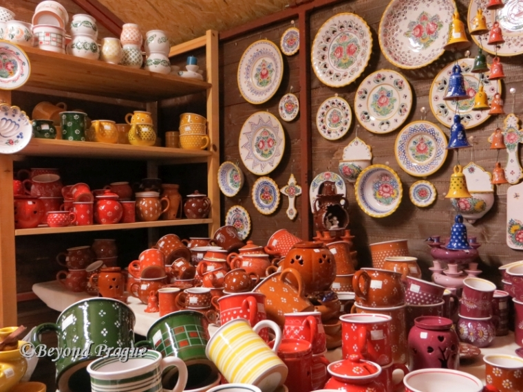 One of several stalls selling ceramics.