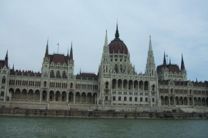 The immensity of the Hungarian parliament building as seen from a river boat.