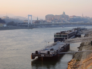 Looking towards Buda, from the Pest side. Dawn breaks on the Danube on a crisp December morning