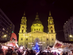 St. Stephen's Basilica with  the Christmas Market in front.