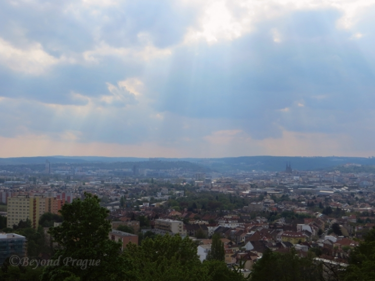 A rather hazy view towards the centre of Brno from the western side of Bíla Hora.