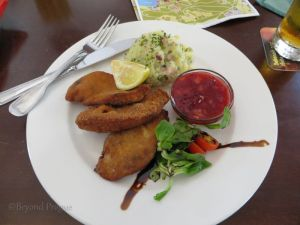 A delightful plate of breaded pheasant at the Stará Myslivna restaurant in the Konopiště chateau gardens.