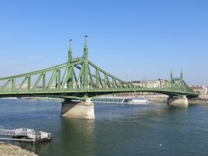 Liberty Bridge and the Danube in Budapest. A popular taget for love locks.